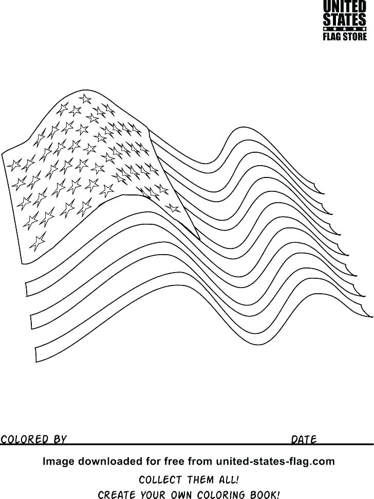 728x970 American Flag Color Page
