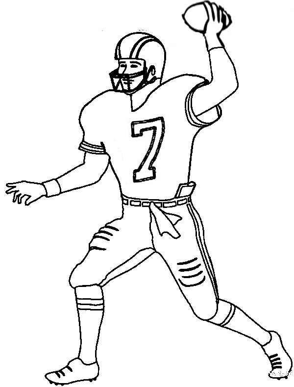 600x789 Extraordinary Football Player Coloring Page About Remodel Line