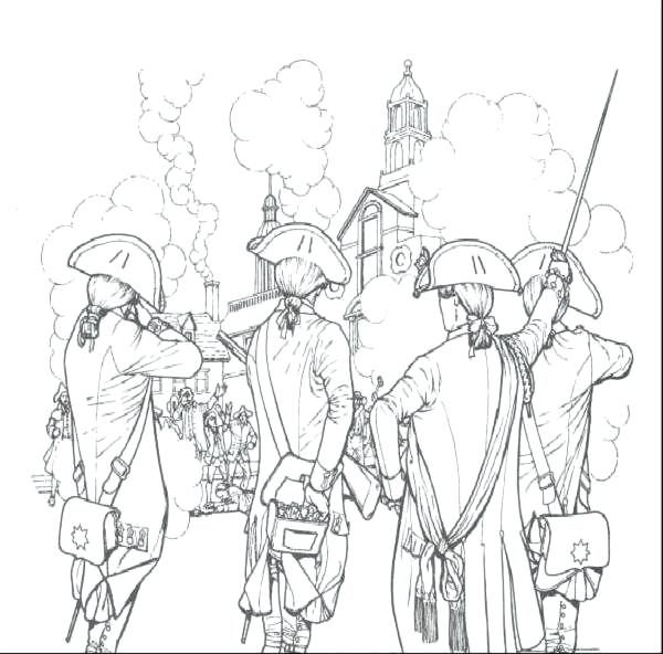 600x592 Unique American Revolution Coloring Pages Or Soldiers