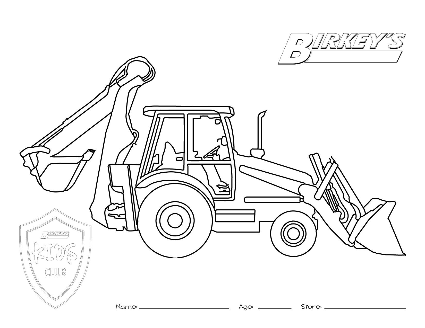 1650x1275 Tractor Backhoe Coloring Page Kids