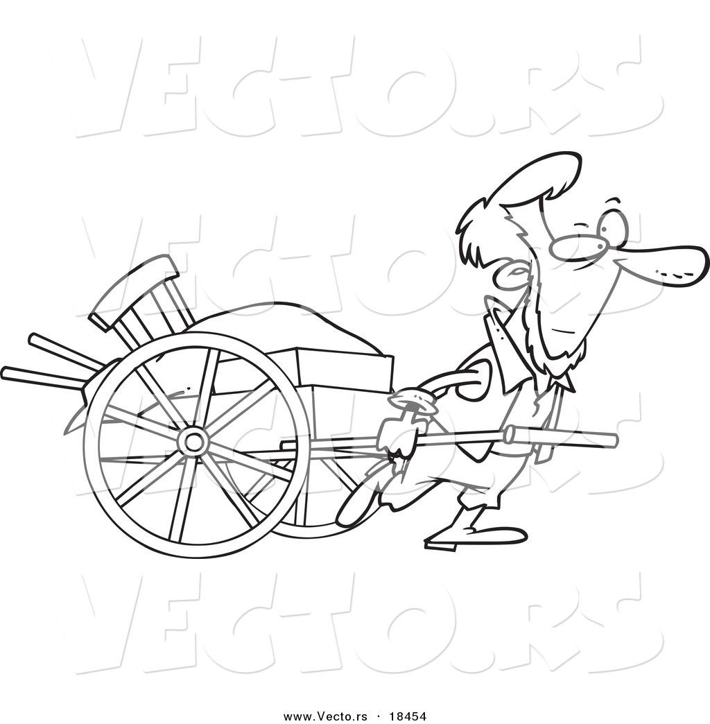 1024x1044 Vector Of A Cartoon Amish Man Pulling A Hand Cart