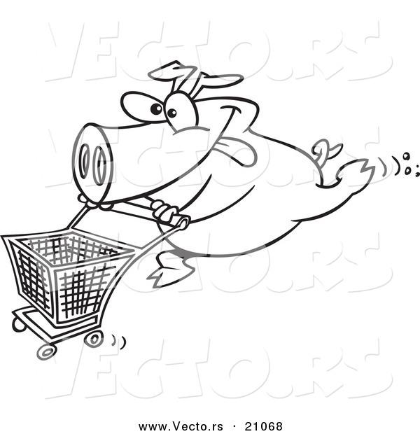 600x620 Vector Of A Cartoon Pig Pushing A Shopping Cart