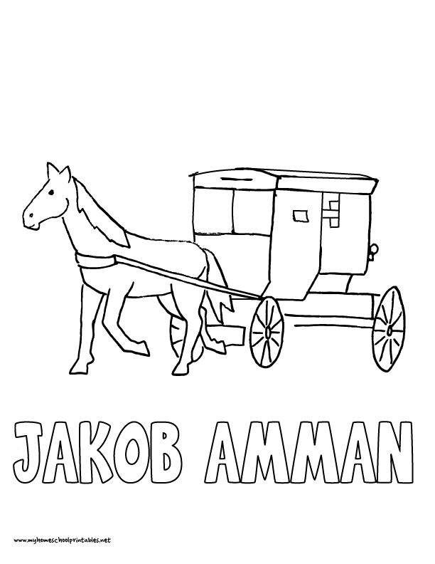 612x792 World History Coloring Pages Printables Jacob Amman Amish Buggy