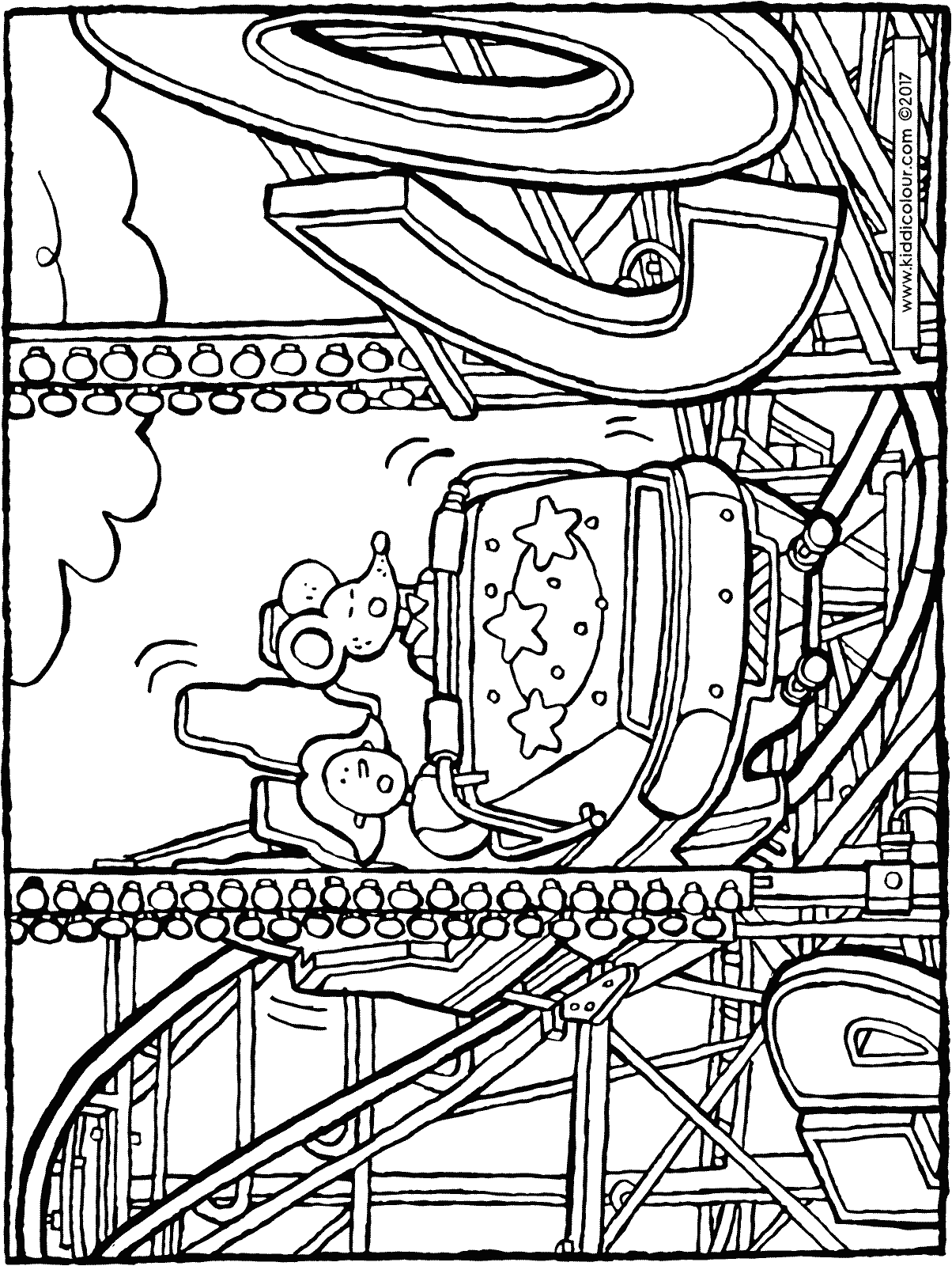1204x1600 Fortune Roller Coaster Coloring Page Family On The Amusement Park