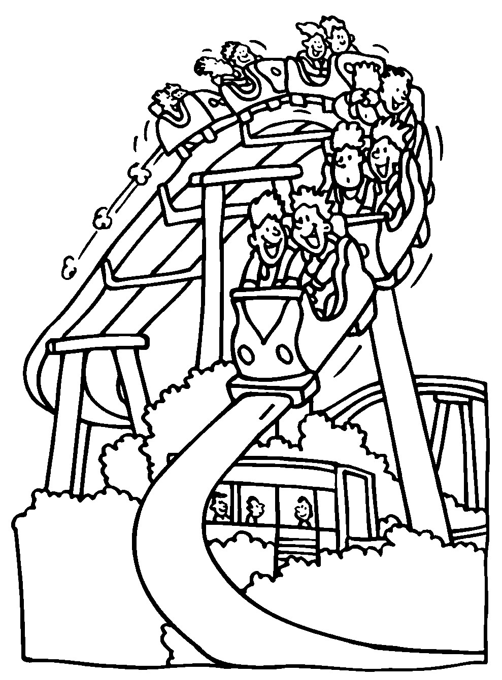 989x1341 Fun Amusement Park Coloring Pages