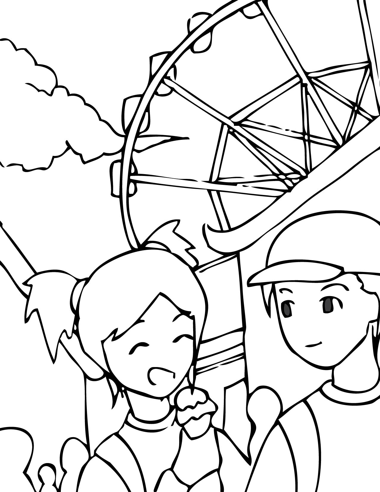 1275x1650 Theme Park Coloring Page