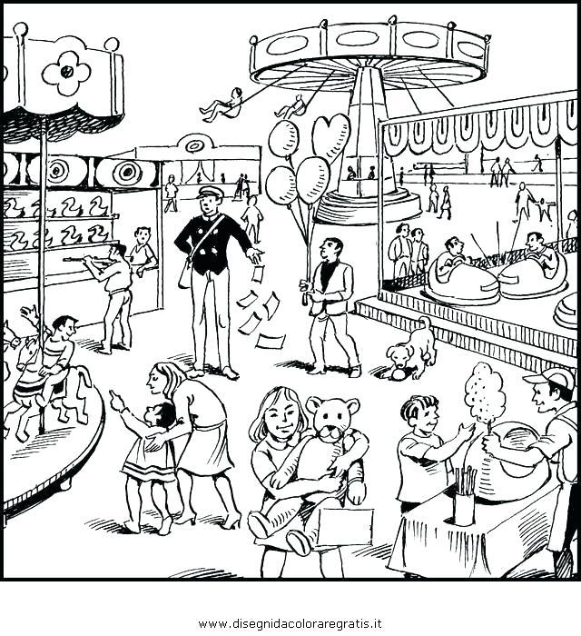 640x700 Amusement Park Coloring Pages