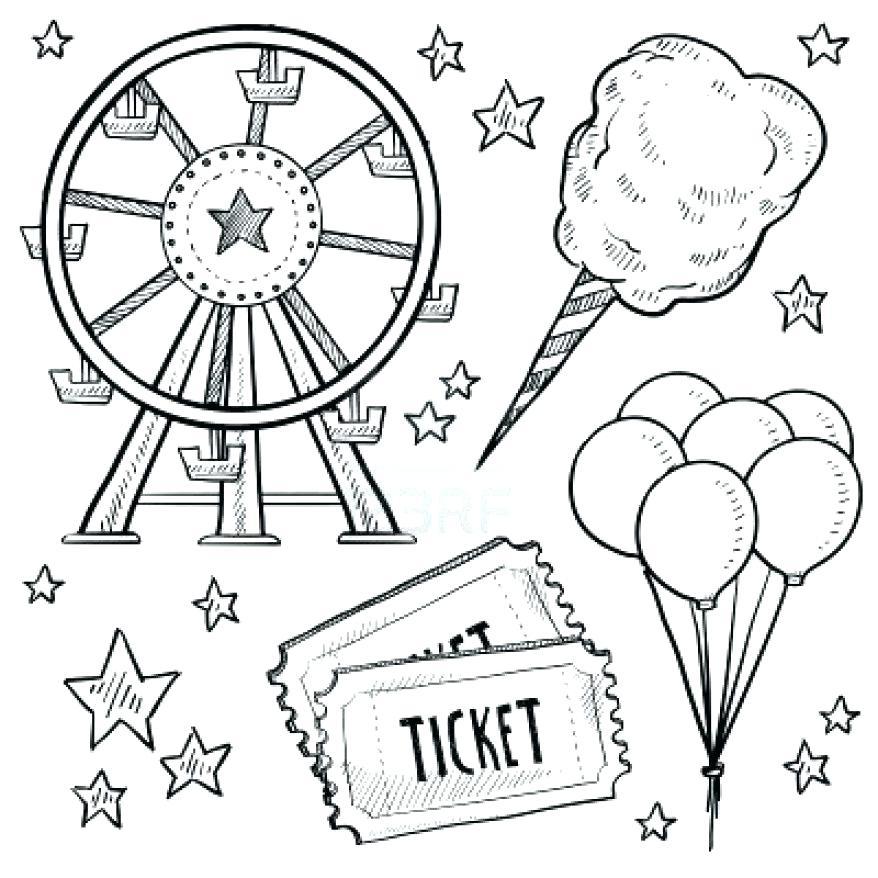 878x878 Amusement Park Coloring Pages Doodle Style Amusement Park