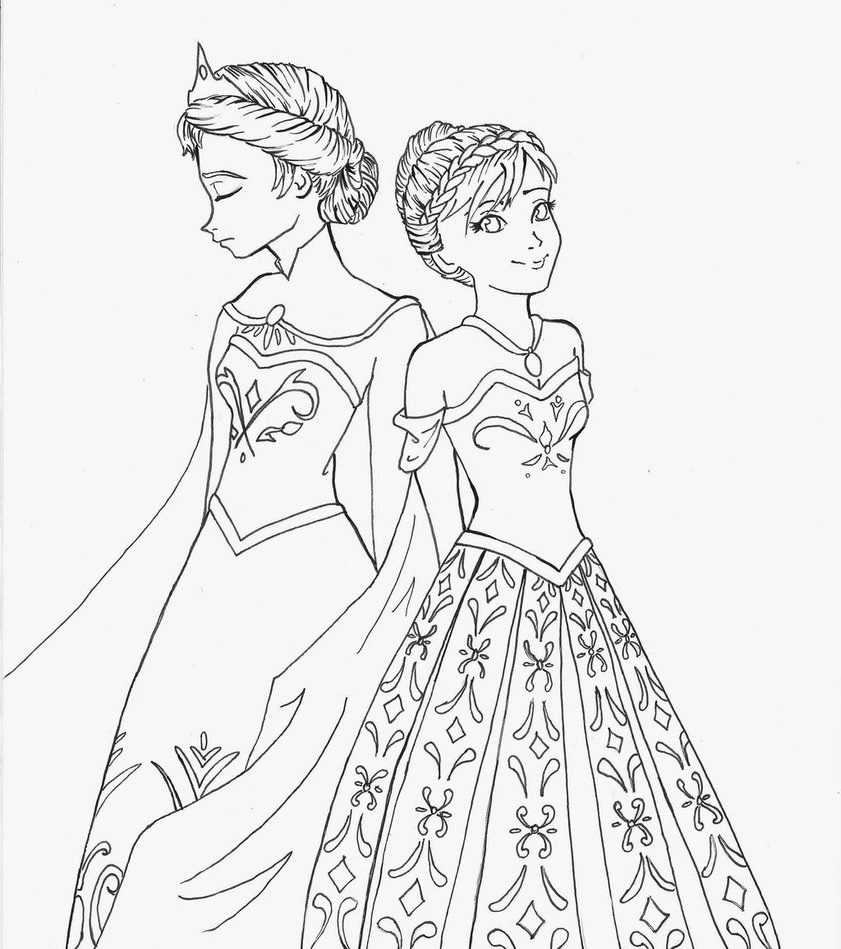 Ana And Elsa Coloring Page At Getdrawings Com Free For Personal