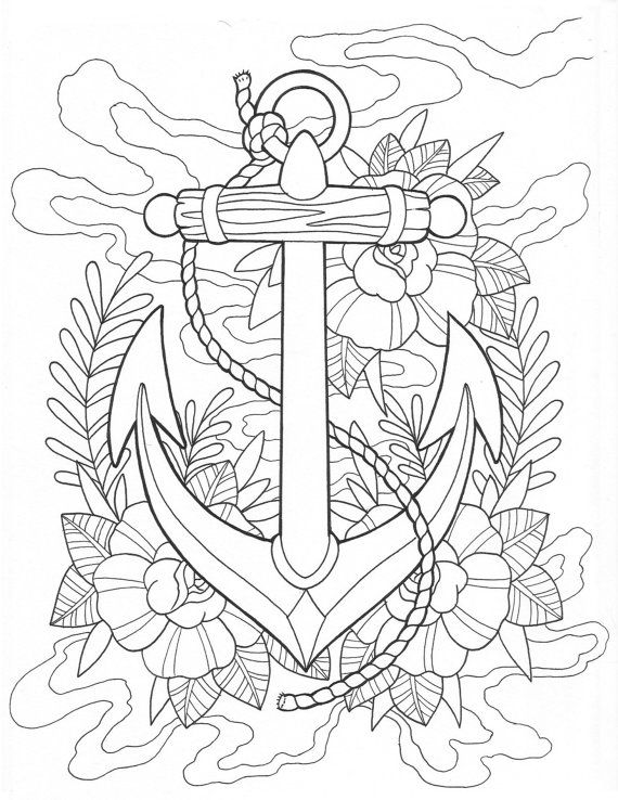 570x738 Anchor Tattoo Coloring Page Digital Download Stained Glass