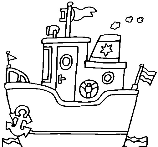 505x470 Boat With Anchor Coloring Page