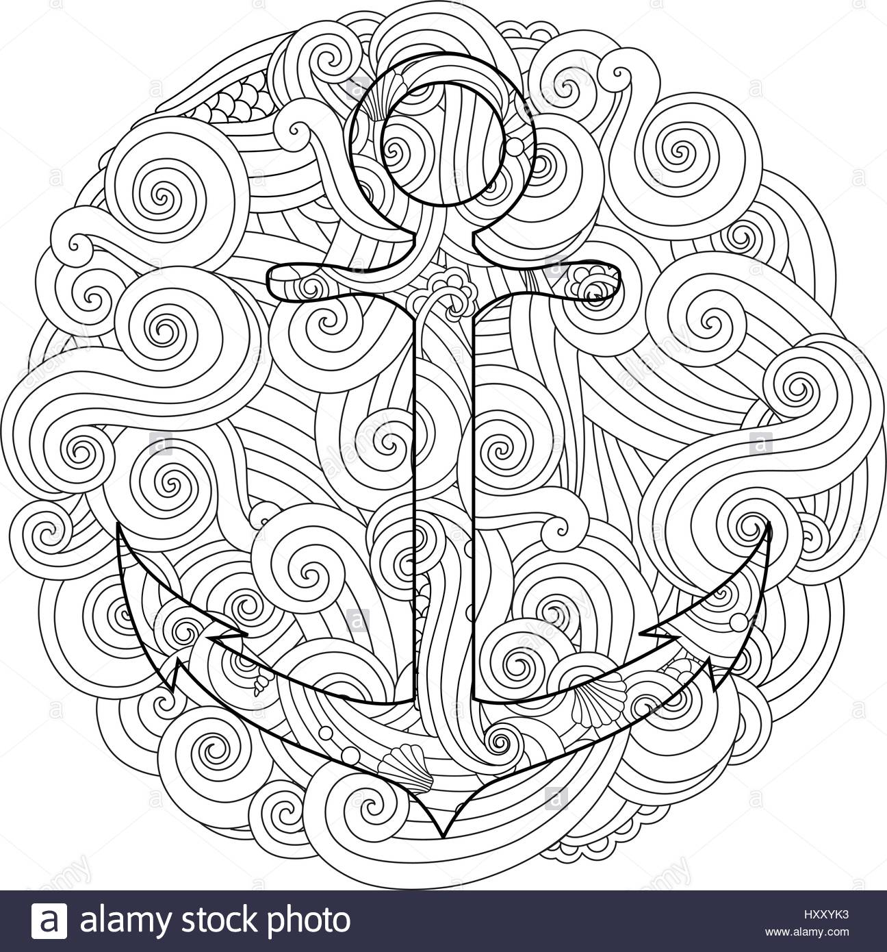 1296x1390 Coloring Page With Anchor In Wave Mandala Zentangle Inspired