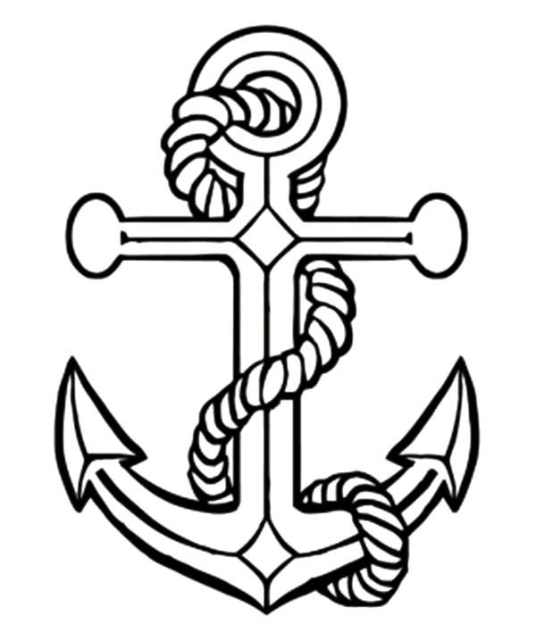 600x718 Anchor Coloring Page For Adults Tattoo Anchor Adult Coloring