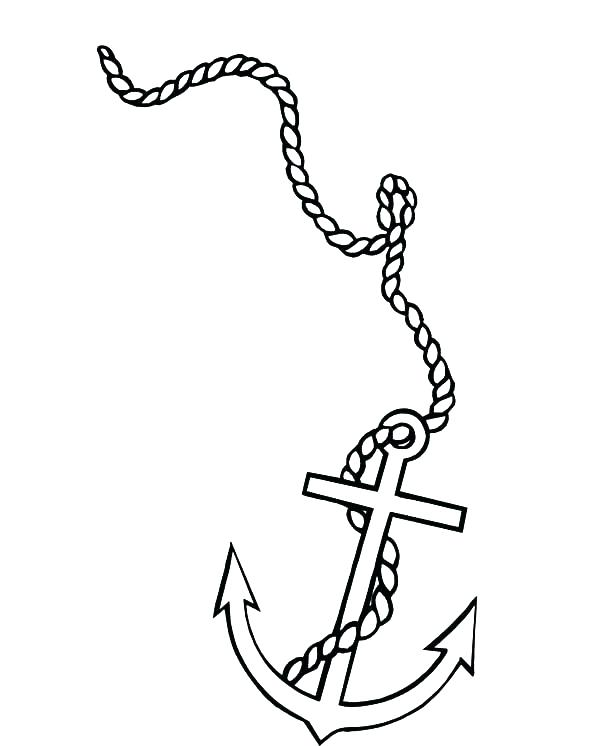 600x746 Coloring Pages Of Anchors Anchor Coloring Page As Little Boat