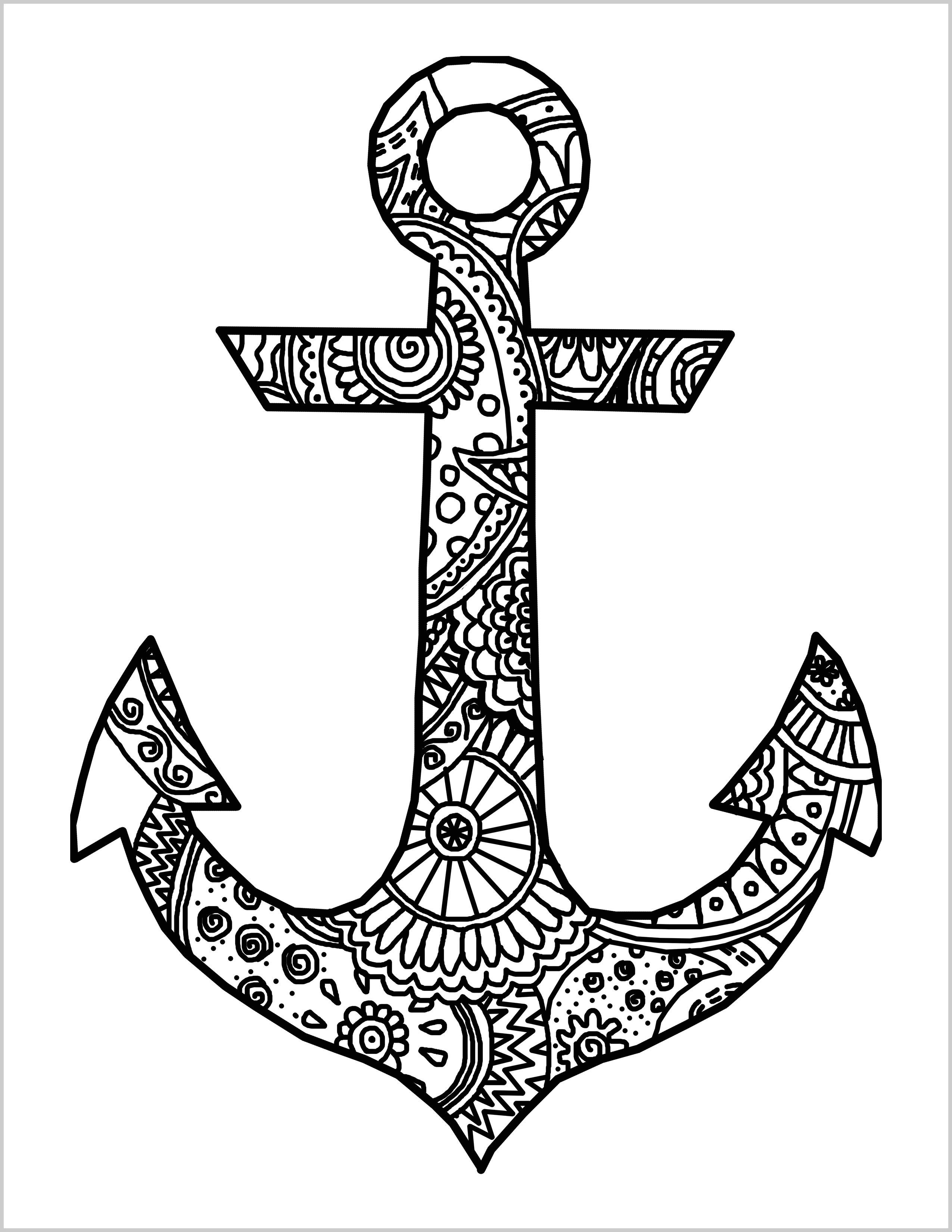 2550x3300 Navy Anchor Coloring Pages Simple Free
