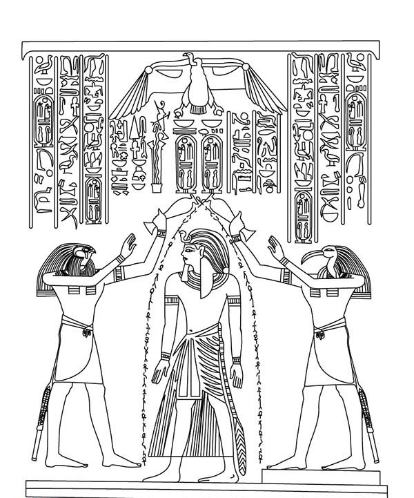 600x721 Ancient Egypt Coloring Pages Anointing Of Pharaoh Horus And Thoth