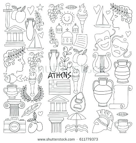 450x470 Ancient Greece Coloring Pages Ancient Vector Elements In Doodle