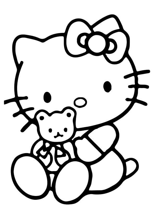 595x842 Print Coloring Image Hello Kitty