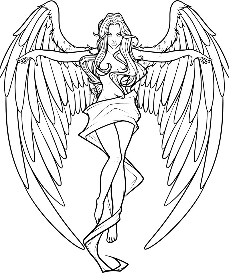 800x954 Angels Coloring Pages Down Popular Angel Coloring Pages For Adults
