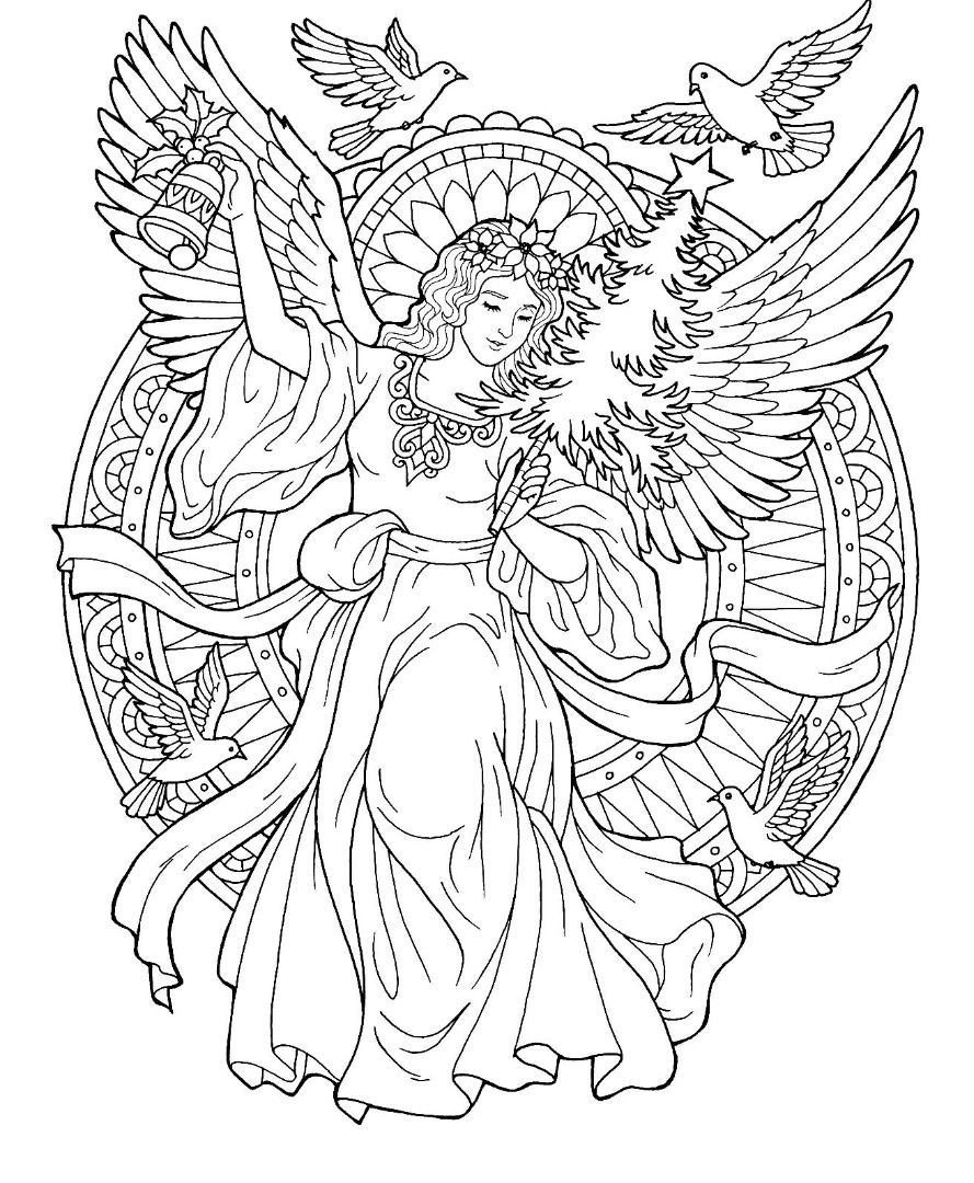889x1080 Christmas Angel Coloring Page Color Pages Angel