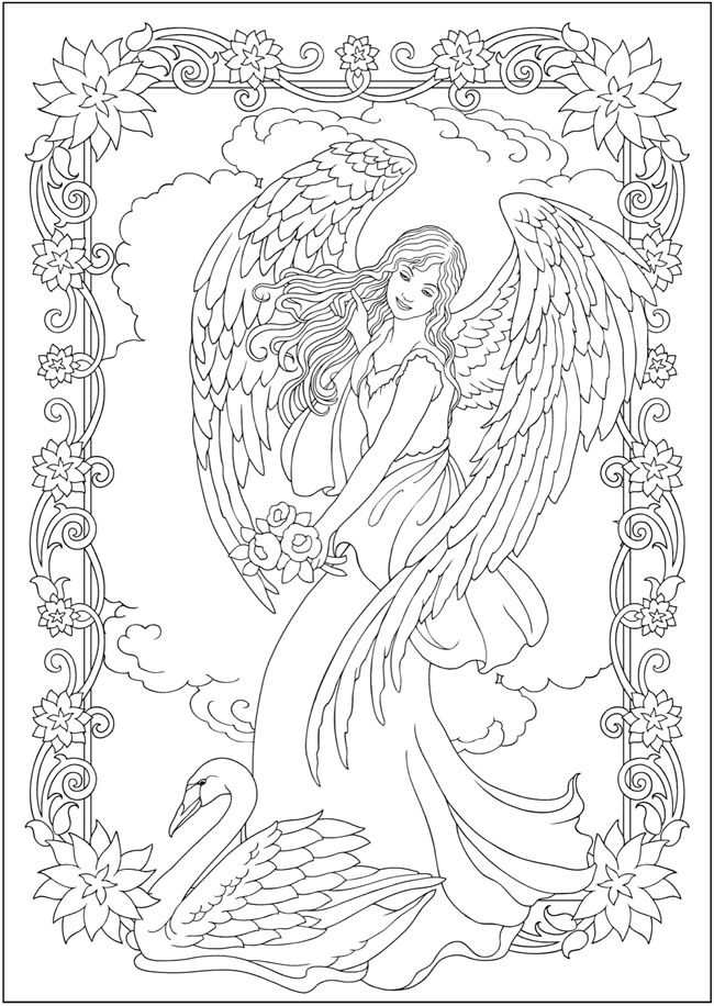 650x916 Creative Haven Elegant Angels Coloring Book
