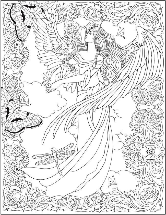 650x839 Creative Haven Elegant Angels Coloring Book