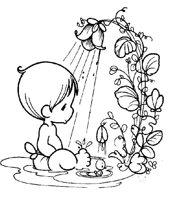 604x674 Precious Moments Baby Bathing Coloring Pages