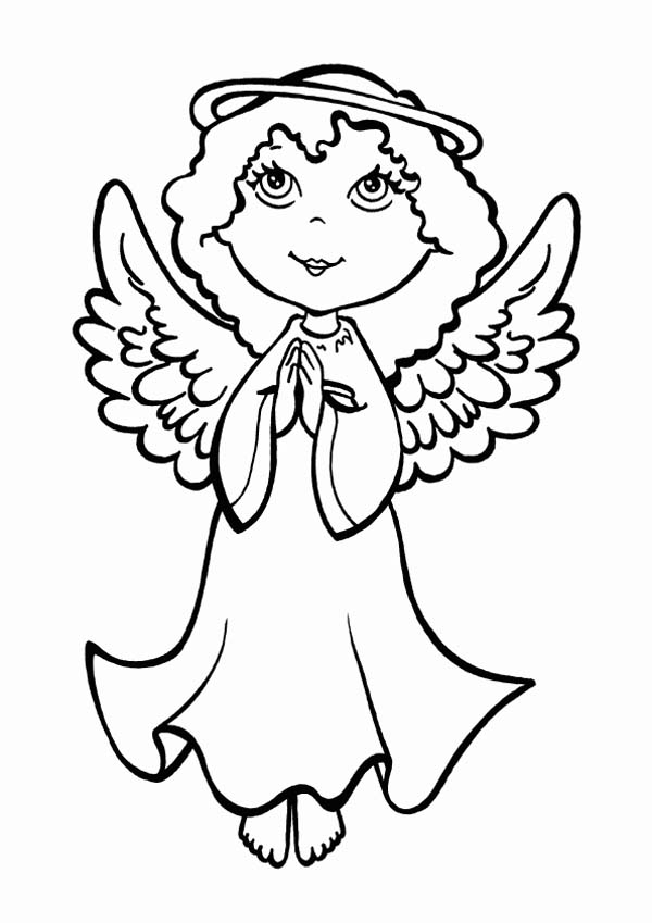 600x849 An Angel Making Pray On Christmas Eve Coloring Page