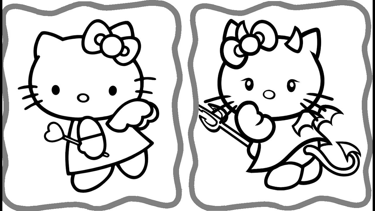 1280x720 Awesome Hello Kitty Angel And Coloring Book Art For Cat Page