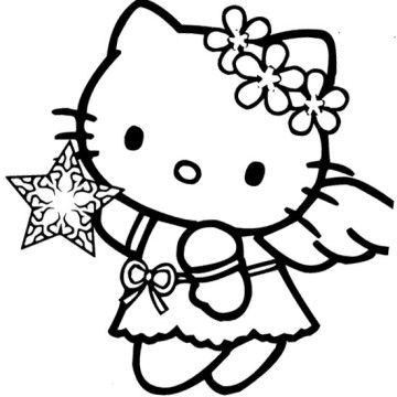 360x360 Hello Kitty Christmas Angel Coloring Page Scripture Coloring
