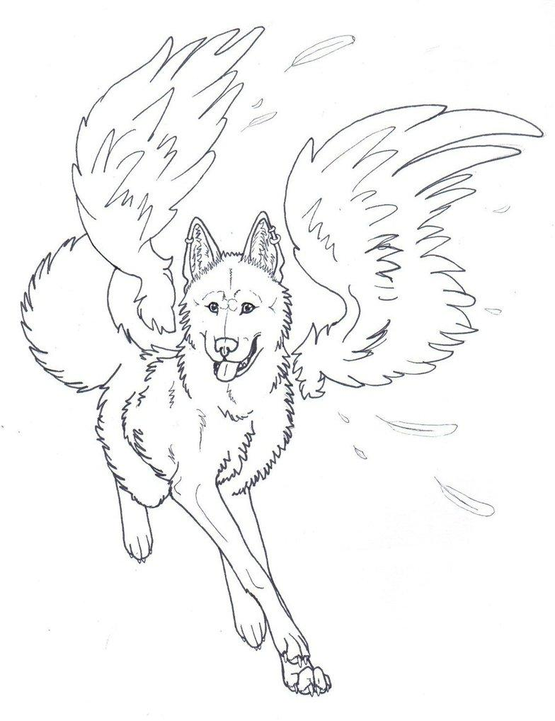 784x1018 Winged Wolf Coloring Pages