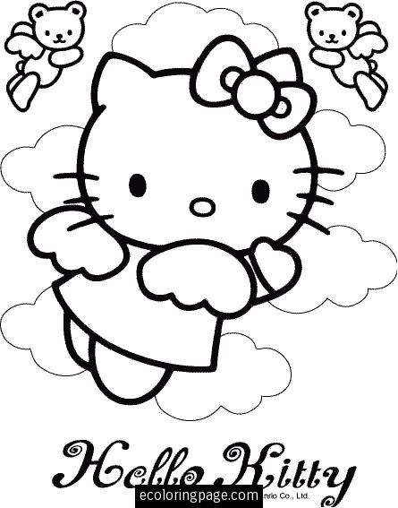 445x567 Hello Kitty Angel Bear Angels Coloring Pages For Girls Printable