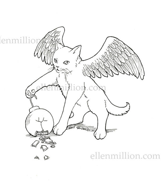 570x650 Winged Cat Coloring Pages Items Similar To Winged Kitten Digi
