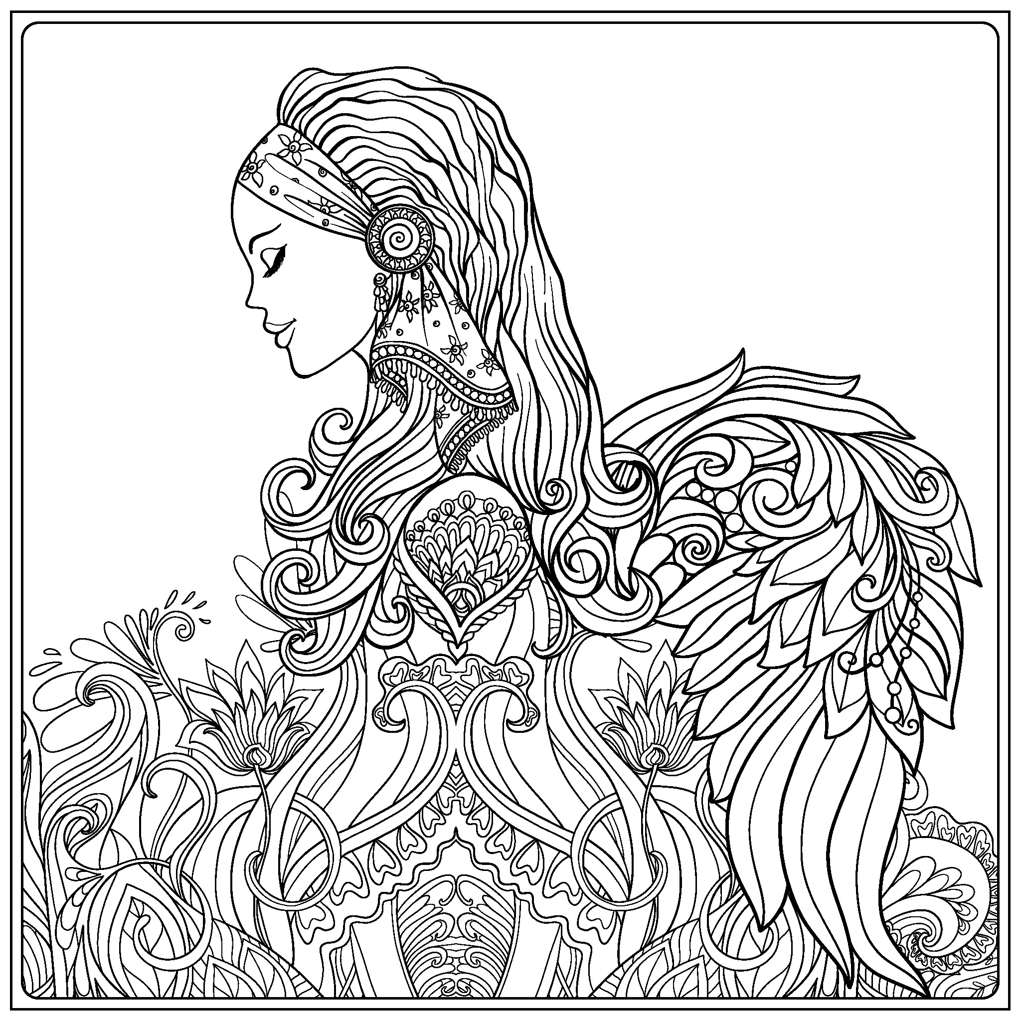 2048x2048 Beautiful Angel Coloring Page Coloring Pages Angel