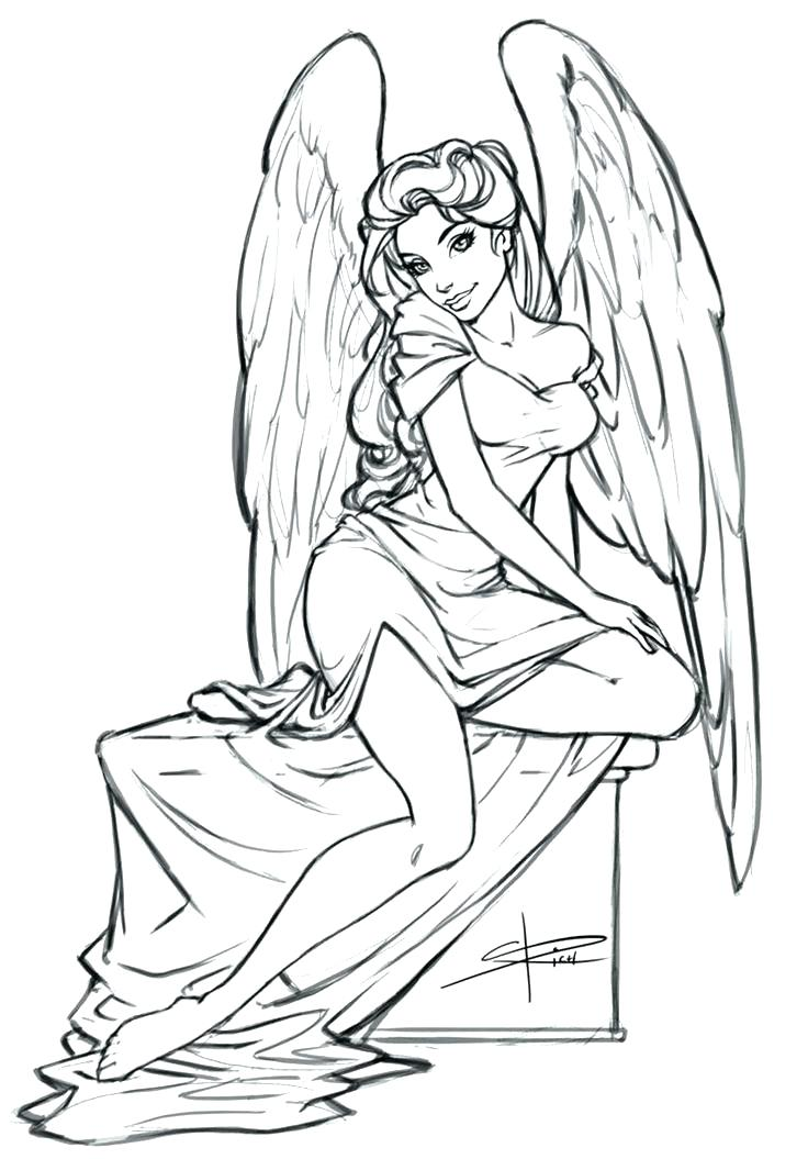 736x1055 Free Angel Coloring Pages Free Angel Coloring Pages Angel Drawings