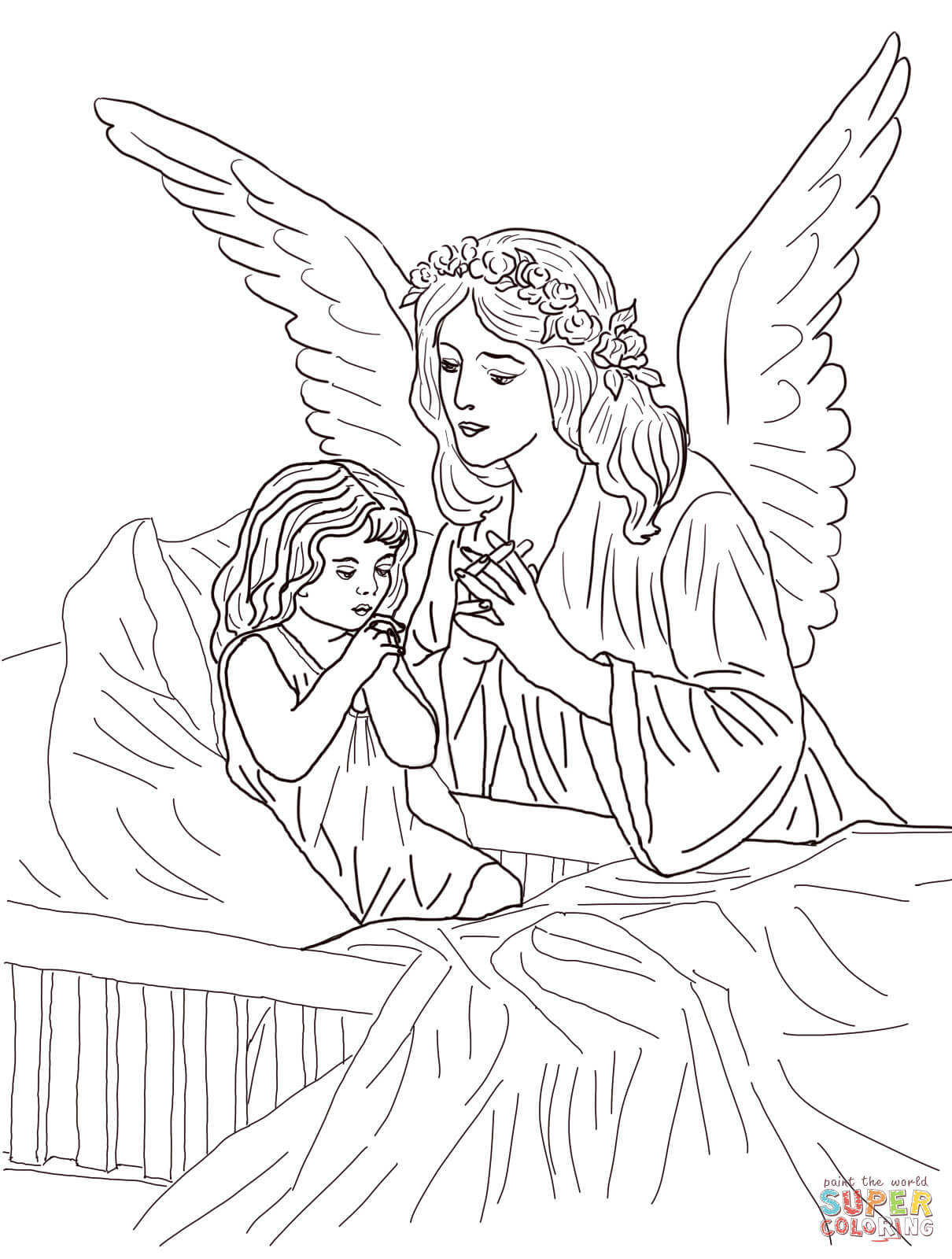 1210x1600 Guardian Angel Prayers Coloring Page