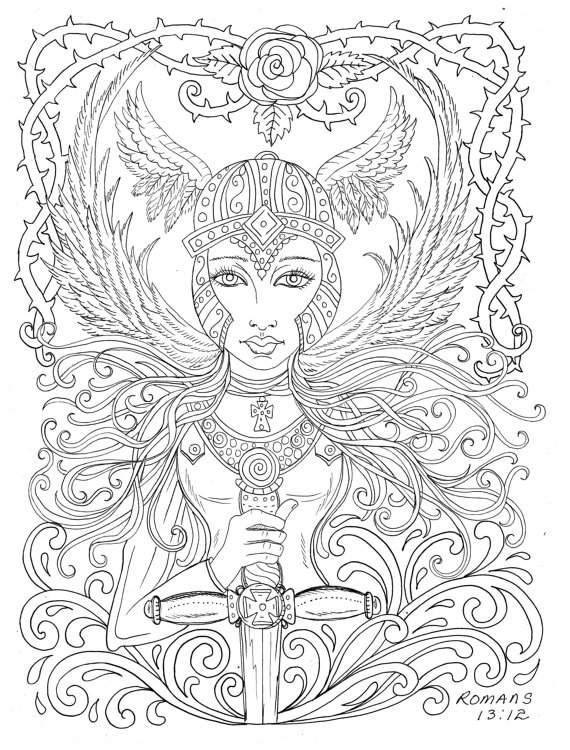 570x750 Warrior Angel Coloring Page Adult Christian Color