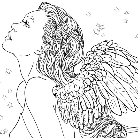 570x570 Adult Coloring Page Fantasy Girl Angel Line Art