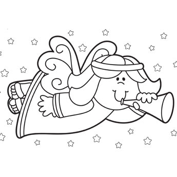 345x345 Christmas Angel Coloring Page