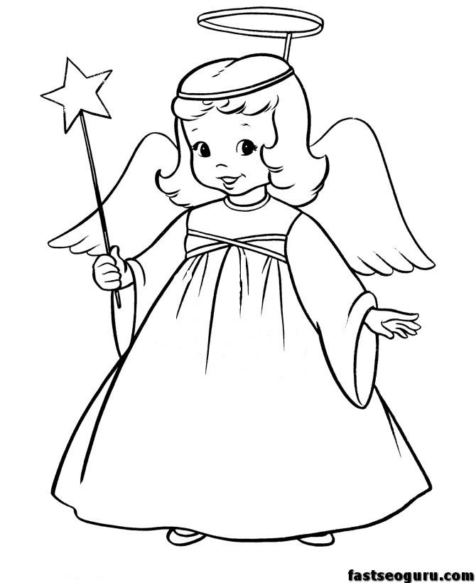 670x820 Christmas Christmas Angel And Star Printable Coloring Pages