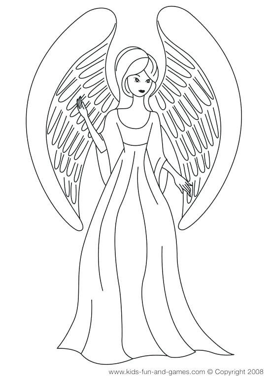 550x775 Free Angel Coloring Pages Drawn Angel Color Free Printable
