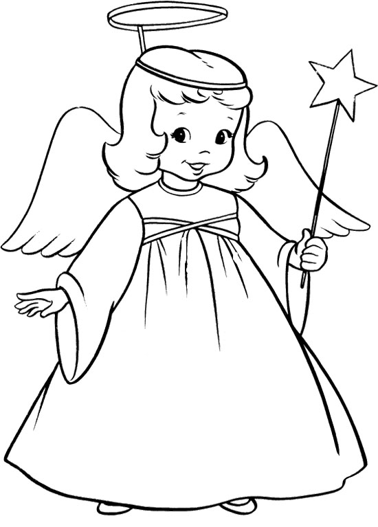 550x767 Full Printable Pictures Of Angels Angel Coloring Page Pages Print