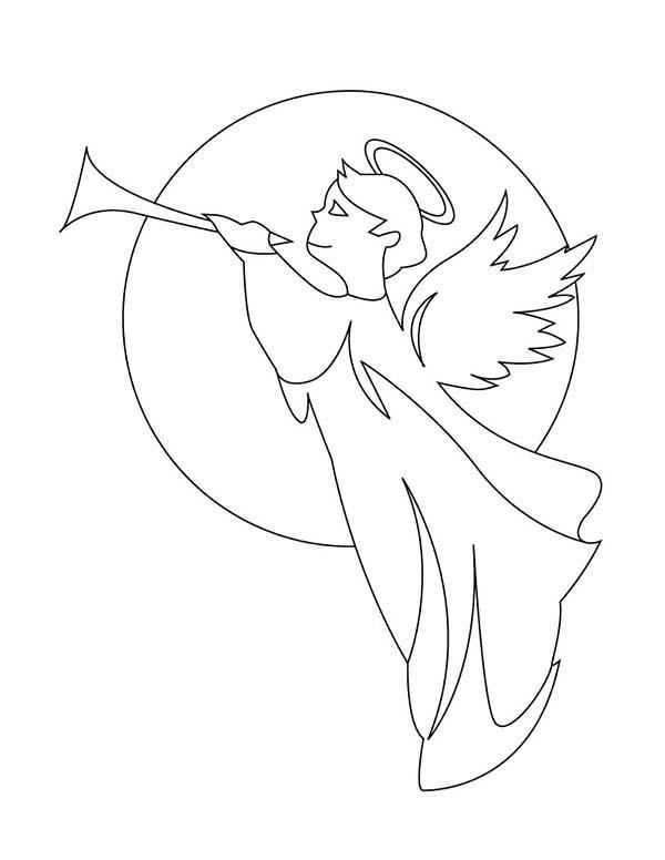 600x776 Angels Gabriel With Trumpet Coloring Page Color Luna