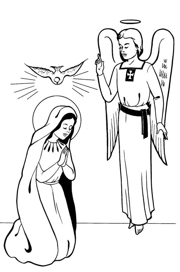 600x904 Annunciation With Angel Gabriel Saints Day Coloring Page Drawing