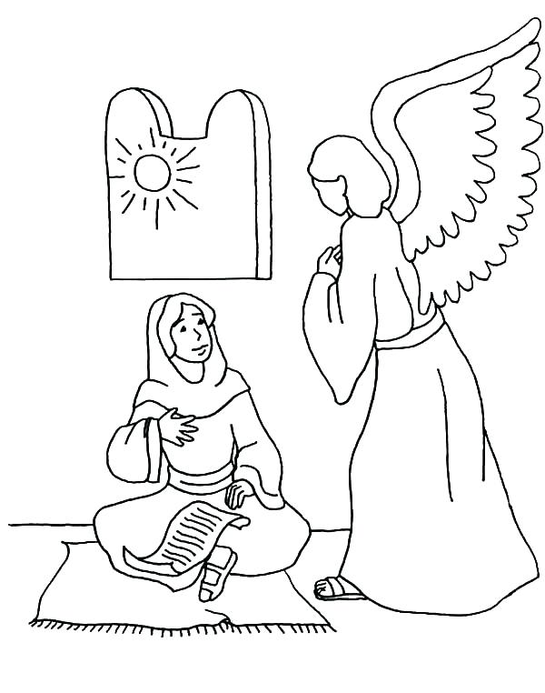 600x762 Lovely Mary And The Angel Coloring Page Or Angel Appears