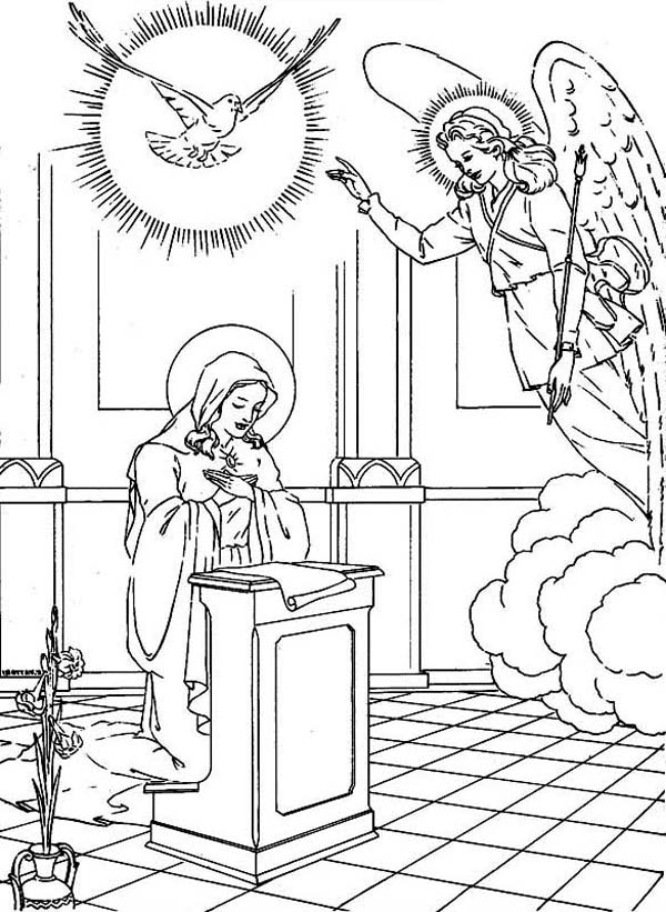 600x821 Mary And The Angel Coloring Page