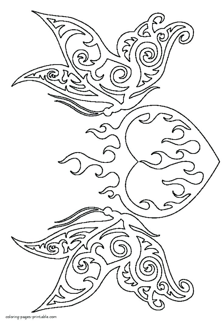 736x1063 Heart Coloring Pages With Wings Burning Heart Coloring Page Heart