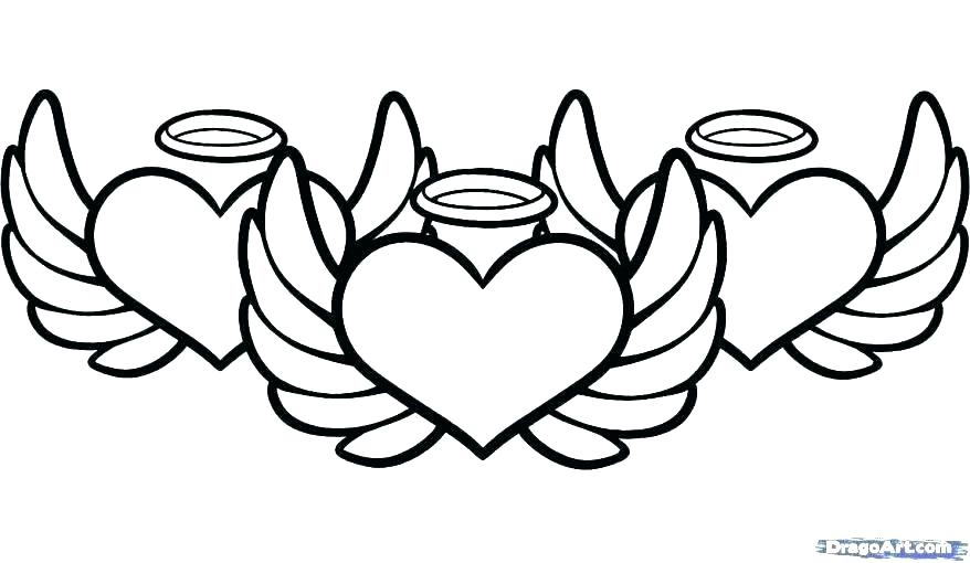 878x510 Heart With Wings Coloring Pages Hearts With Angel Wings Coloring