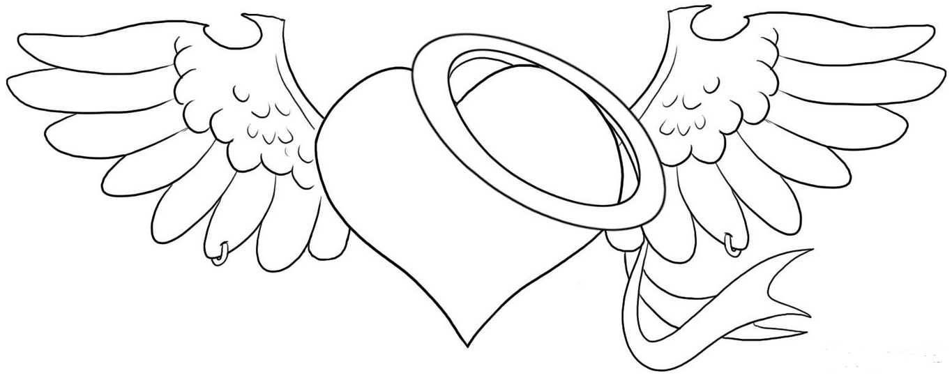 1365x555 Stylish Design Broken Heart Coloring Pages