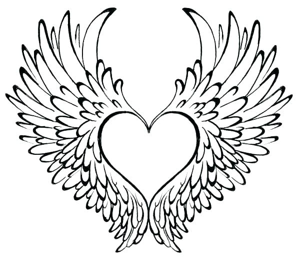 600x519 Angel Wings Coloring Pages Heart Coloring Pages With Wings